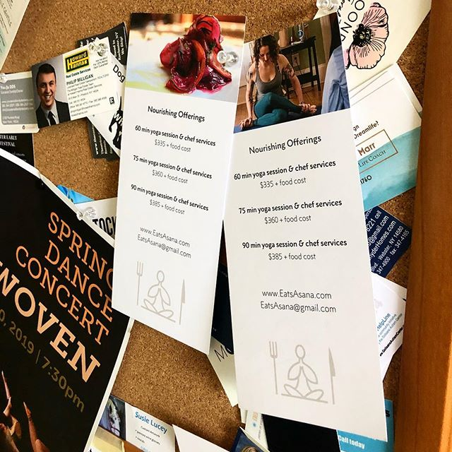 Our flyers spotted at @villagebakeryandcafe at the Armory ✨💙. . .  #eatsasana #foodyogafriends #rocyoga #rocfoosrocfoodie #rochesterny #roc