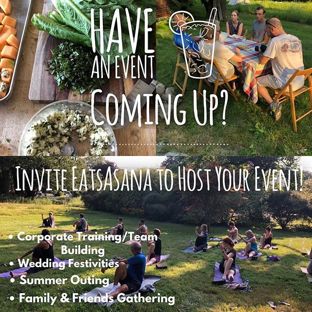 Whatever the reason/season/event, invite us to help you host! Bring yoga and locally sourced catered meal to your next gathering this summer. ✨ Find us at EatsAsana.com. . . . #eatsasana #friendsyogafood #togetherwenourish #rocyoga #rocfood #rocfoodie #rochesterculinary #rochesterny #farmersmarket #brightonfarmersmarket #rochesterfarmersmarket #roc #plantbased #localfood #eatlocal #asana #vinyasa #restorativeyoga #teambuilding #weddingshower #corporateyoga
