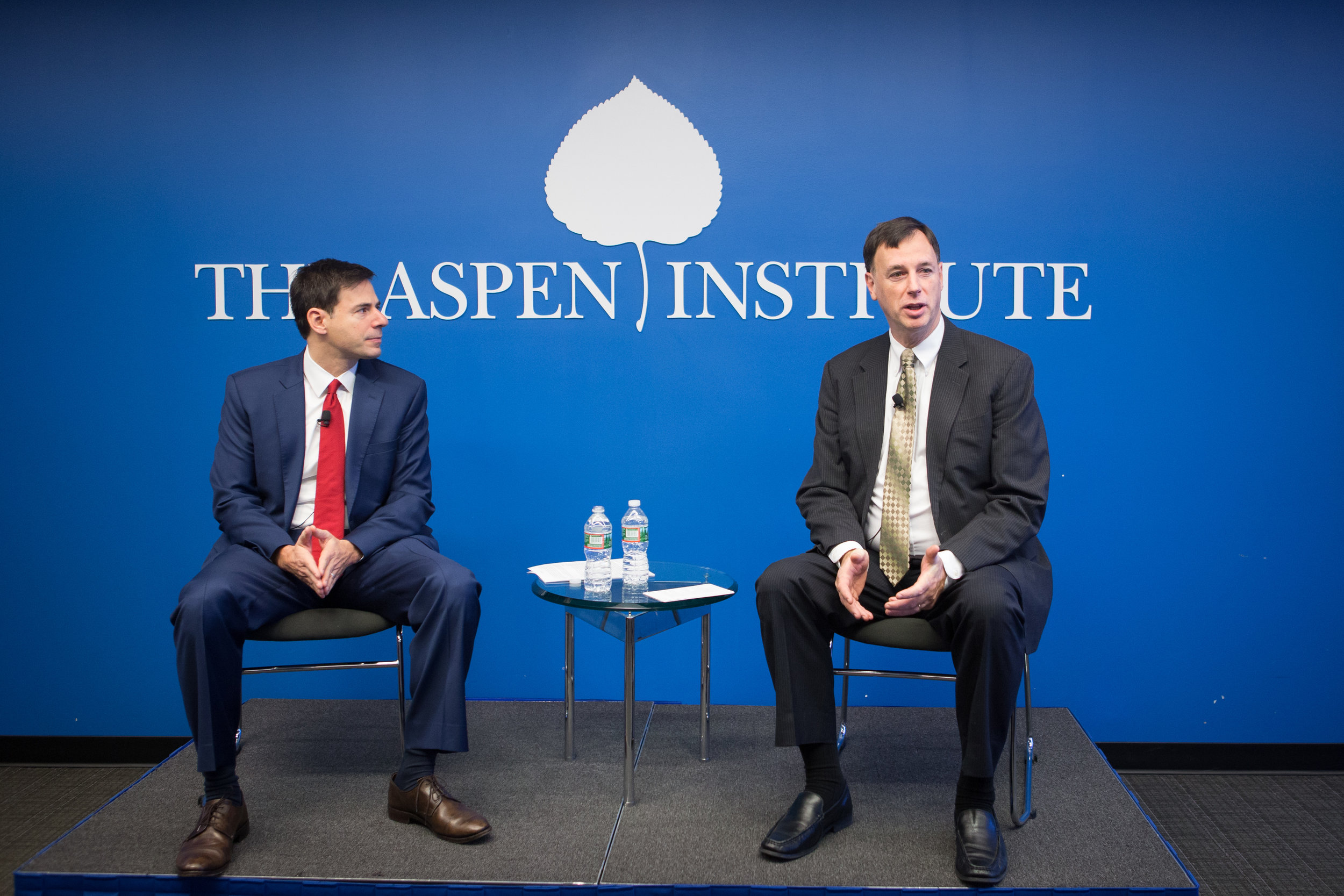 Rob Joyce (right), who spoke at the 2017 Summit, at an Aspen Institute panel with John Carlin.