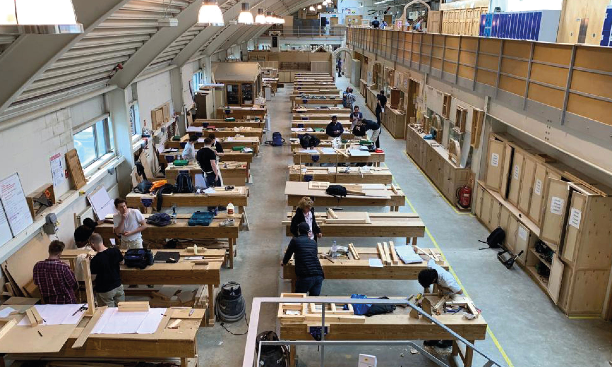 The joinery workshop at the BCC full of work benches
