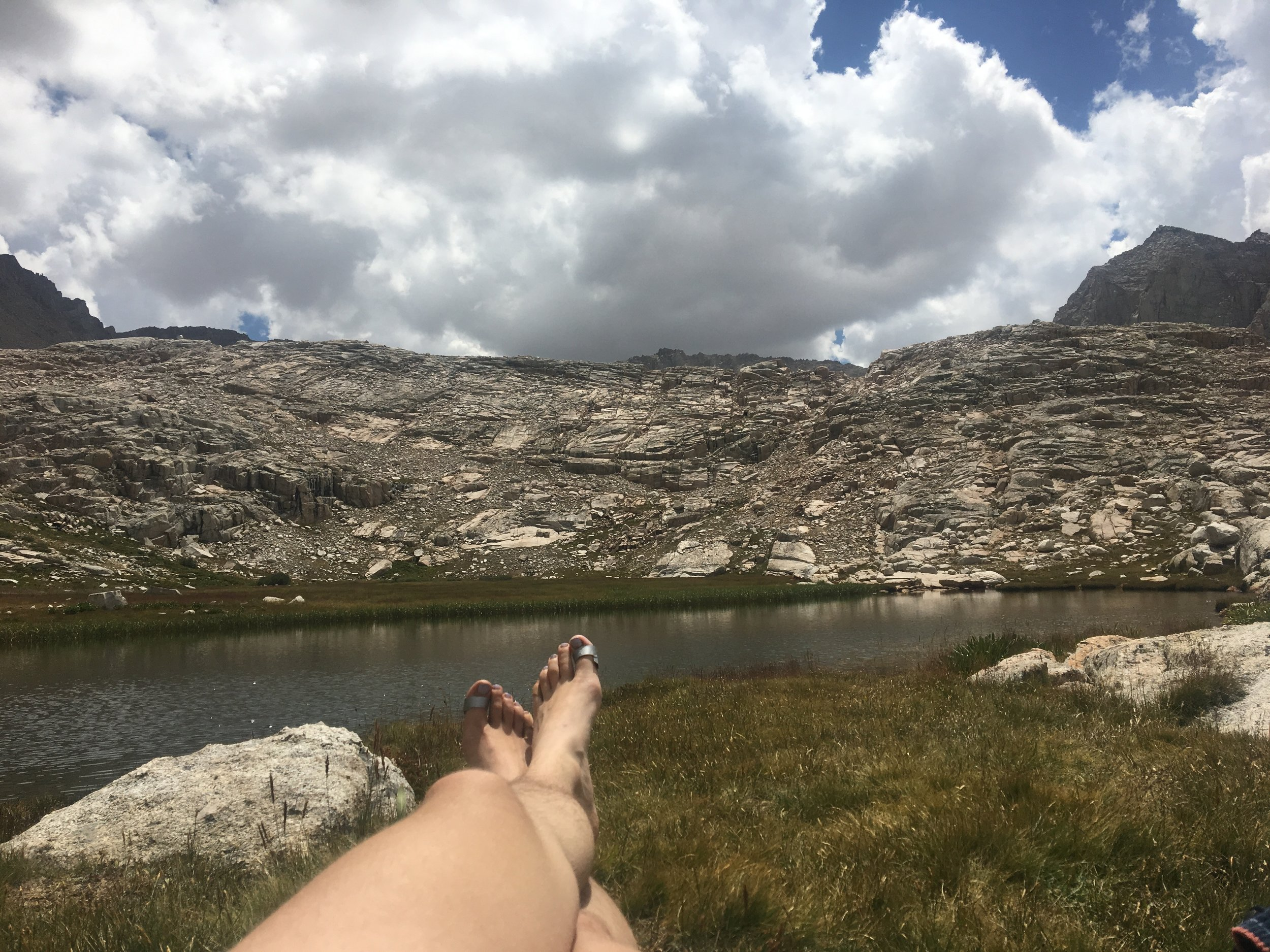 Looking out over Guitar Lake and then relaxing at a smaller lake a few miles closer to Whitney.