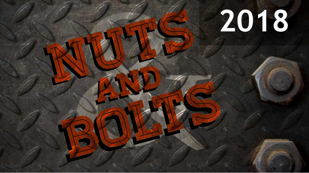 Gray sheet metal with nuts screwed in on the right side. 'Nuts and Bolts 2018' is superimposed on top