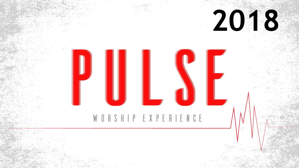 White background with a red electrocardiogram spanning it's width. It says 'Pulse worship experience 2018 ' in the middle