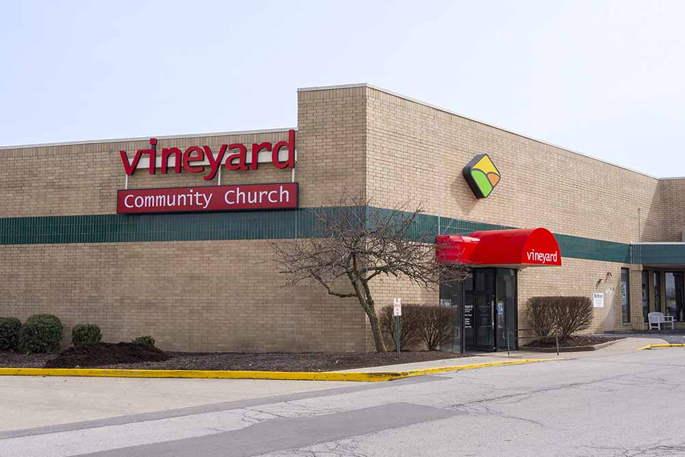 Front doors of Vineyard Community Church Richmond next to Richmond Mall main entrance