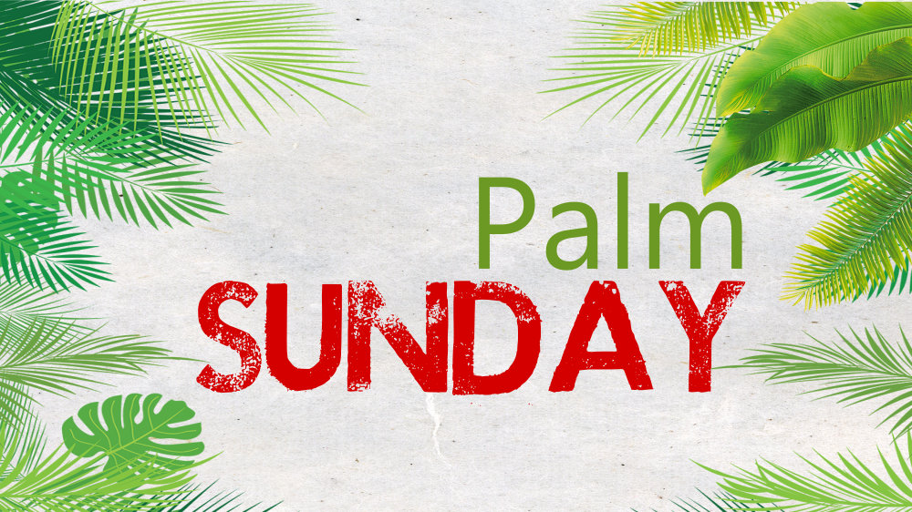 A variety of palm leaves border the text 'Palm Sunday'