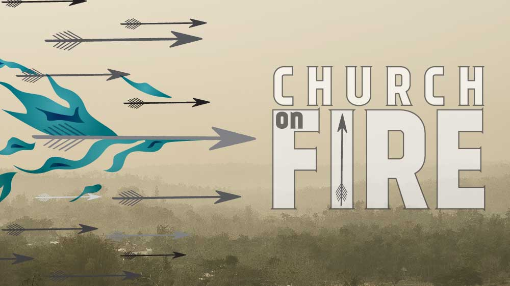 A multitude of arrows flying above a hazy landscape. One of the arrows is engulfed in a blue flame. 'Church on Fire' is written along the side