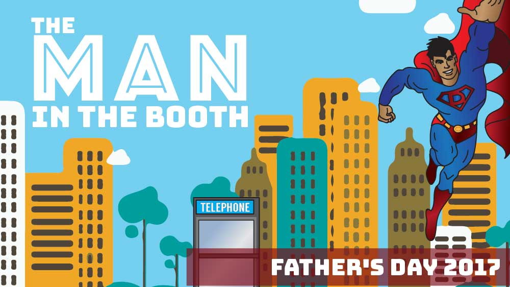 A super hero flies out of a phone booth. 'The Man in the Booth' is written in the sky