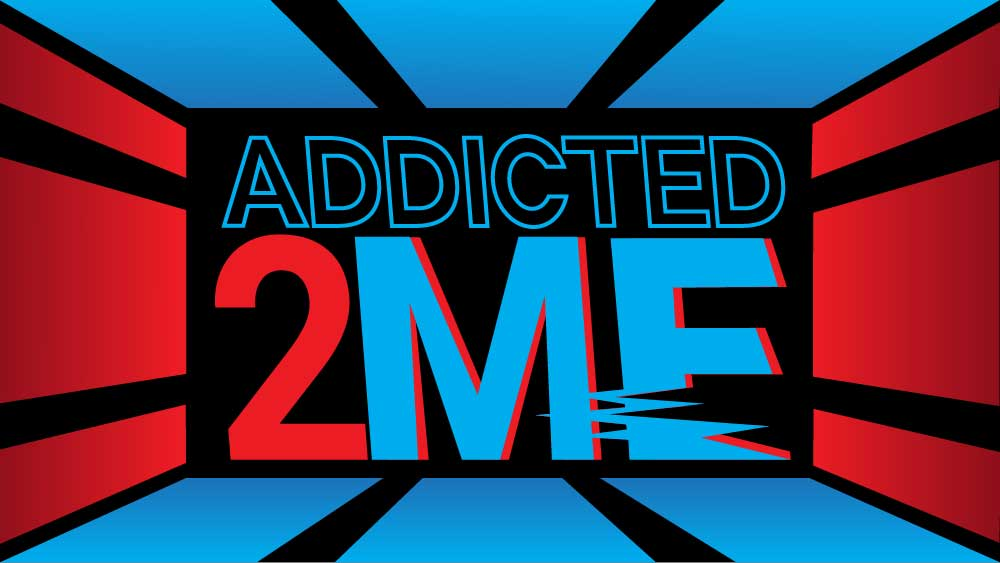 Red and blue color bars shoot out from the text 'Addicted 2 Me'