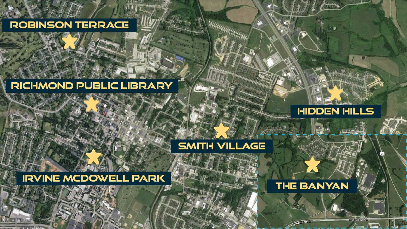 Map of Richmond showing the sites for Power Up