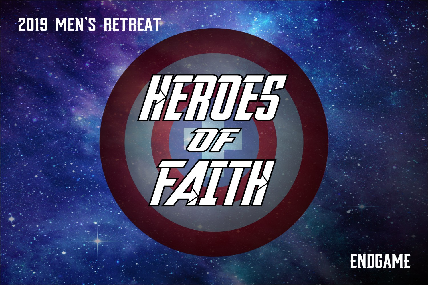 A circular shield of a hero floats on top of a galaxy background. 'Heroes of Faith' is written across it.