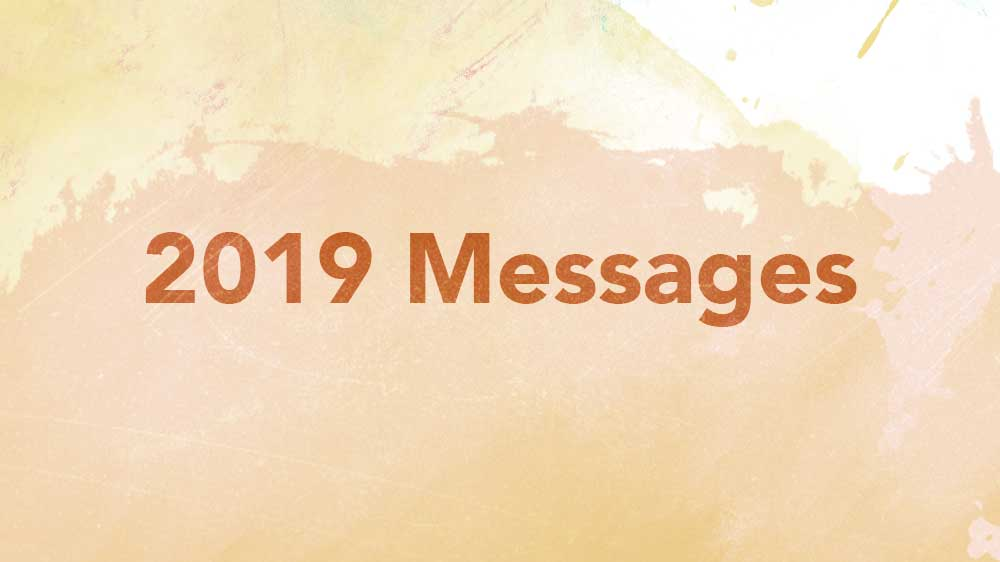 Watercolor background. '2019 Messages' is written across it.