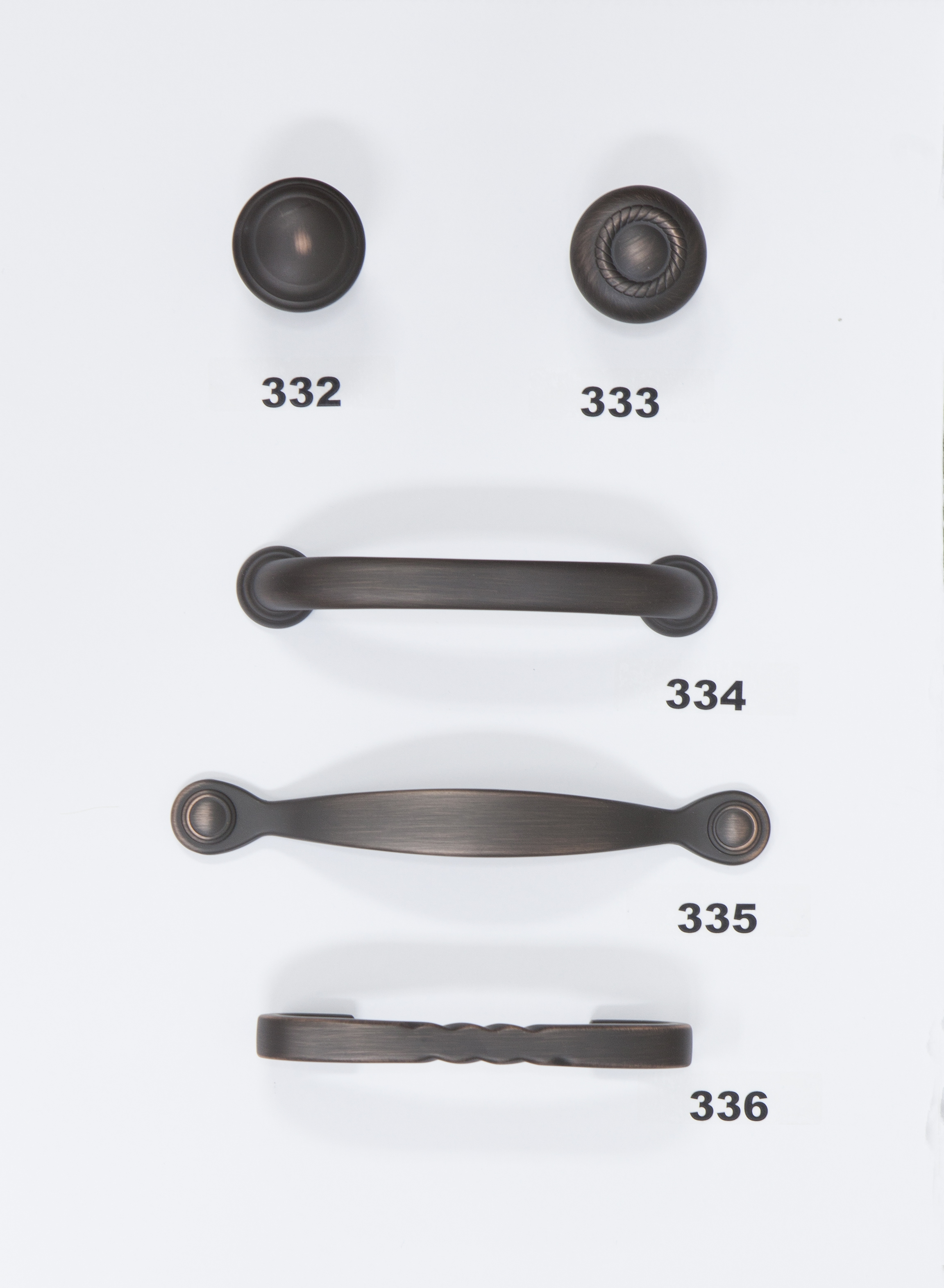 "#332 - Knob - Oil Rubbed Bronze  #333 - Knob - Oil Rubbed Bronze  #334 - 3 3/4"" Center - Oil Rubbed Bronze  #335 - 3"" Center - Oil Rubbed Bronze  #336 - 3"" Center - Oil Rubbed Bronze"