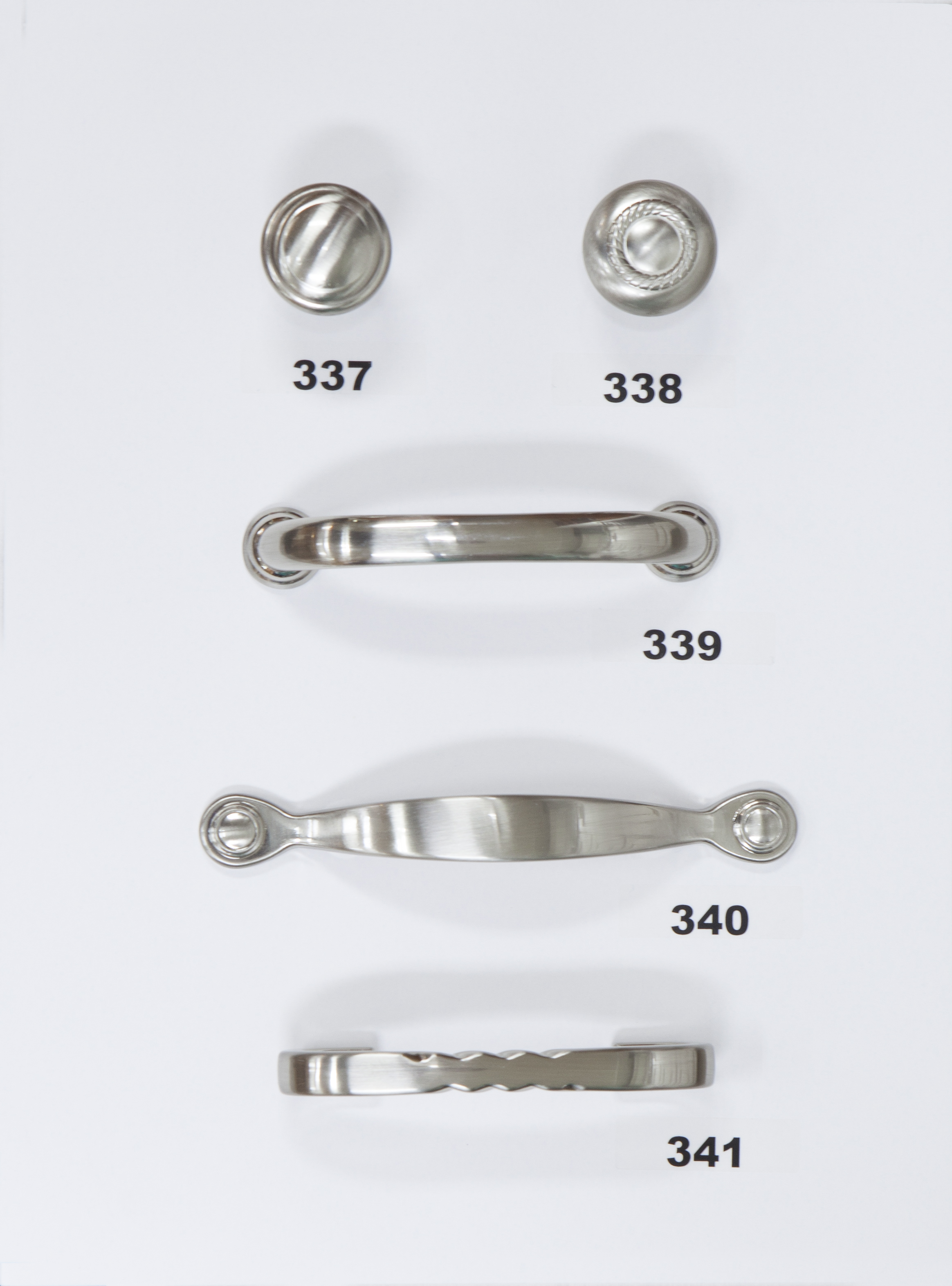 "#337 - Knob - Satin Nickel  #338 - Knob - Satin Nickel  #339 - 3 3/4"" Center - Satin Nickel  #340 - 3"" Center - Satin Nickel  #341 - 3"" Center - Satin Nickel"