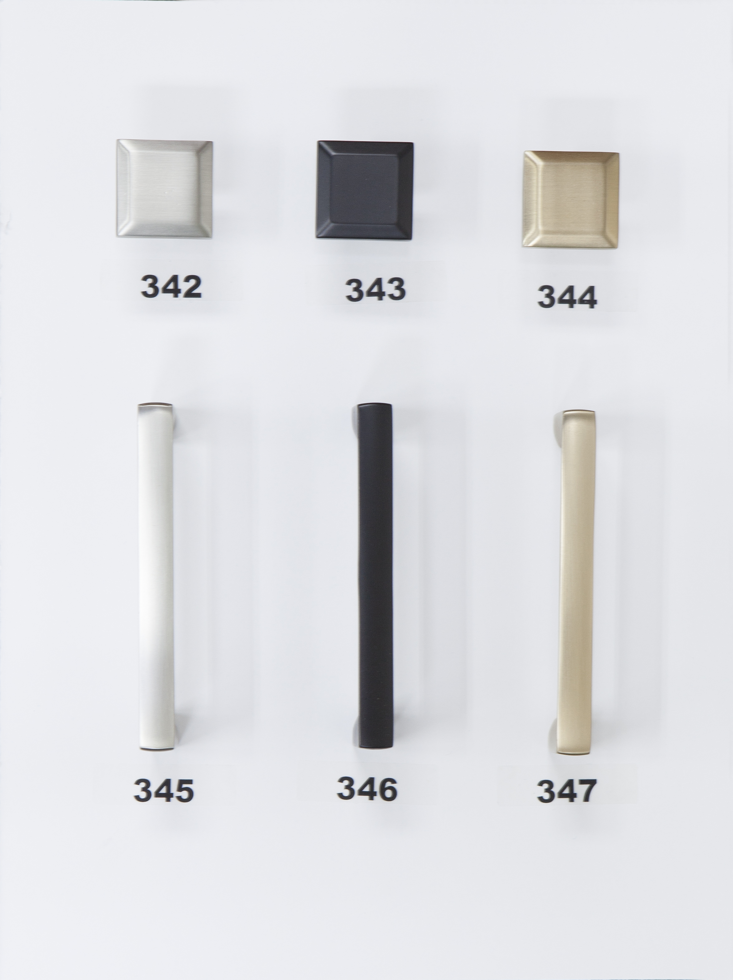 "#342 - Knob - Brushed Nickel  #343 - Knob - Flat Black  #344 - Knob - Modern Bronze  #345 - 3 3/4"" Center - Brushed Nickel  #346 - 3 3/4"" Center - Flat Black  #347 - 3 3/4"" Center - Modern Bronze"