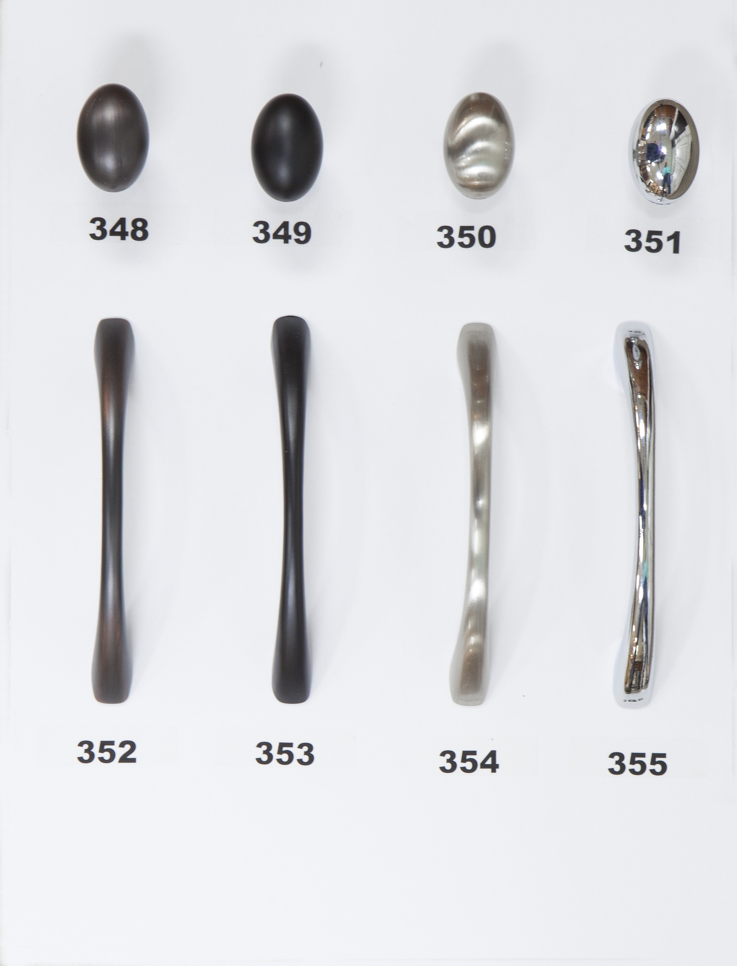 "#348 - Knob - Oil Rubbed Bronze  #349 - Knob - Flat Black  #350 - Knob - Satin Nickel  #351 - Knob - Polished Chrome  #352 - 3 3/4"" Center - Oil Rubbed Bronze   #353 - 3 3/4"" Center - Flat Black  #354 - 3 3/4"" Center - Satin Nickel  #355 - 3 3/4"" Center - Polished Chrome"