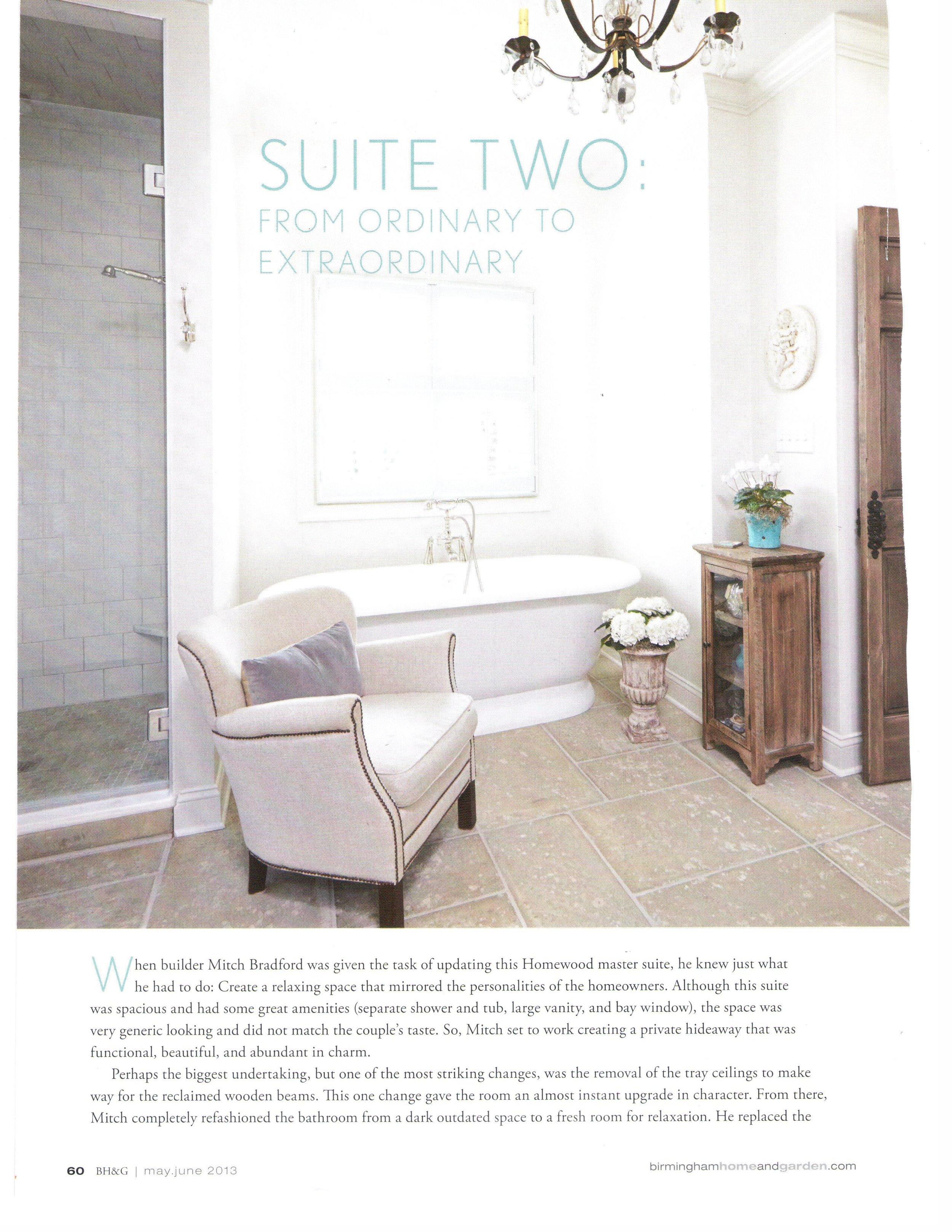 B'Ham Home & Garden Suite Upgrade magazine page 5 architecture exterior and interior design Alabama