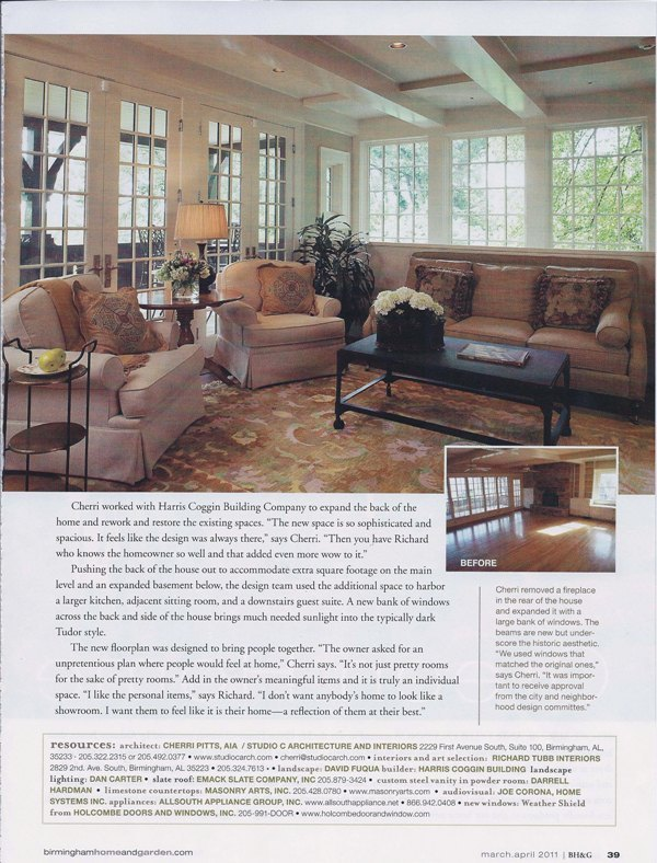 Birmingham Home & Garden 2011 Nick of Time page 6 architecture interior and exterior design Alabama
