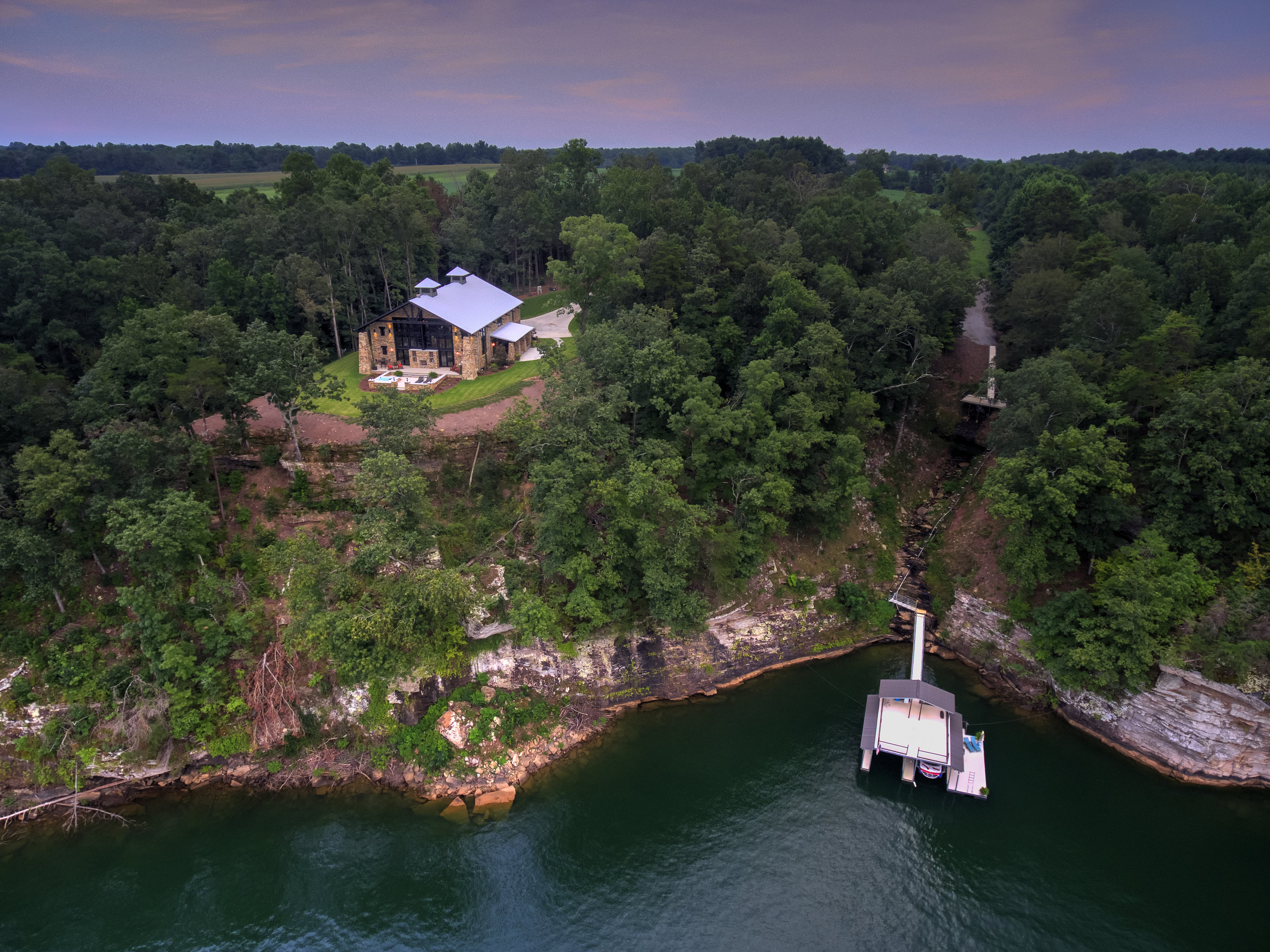 Aerial view of Crider Lake House renovation #exterior #architecture #lakeliving
