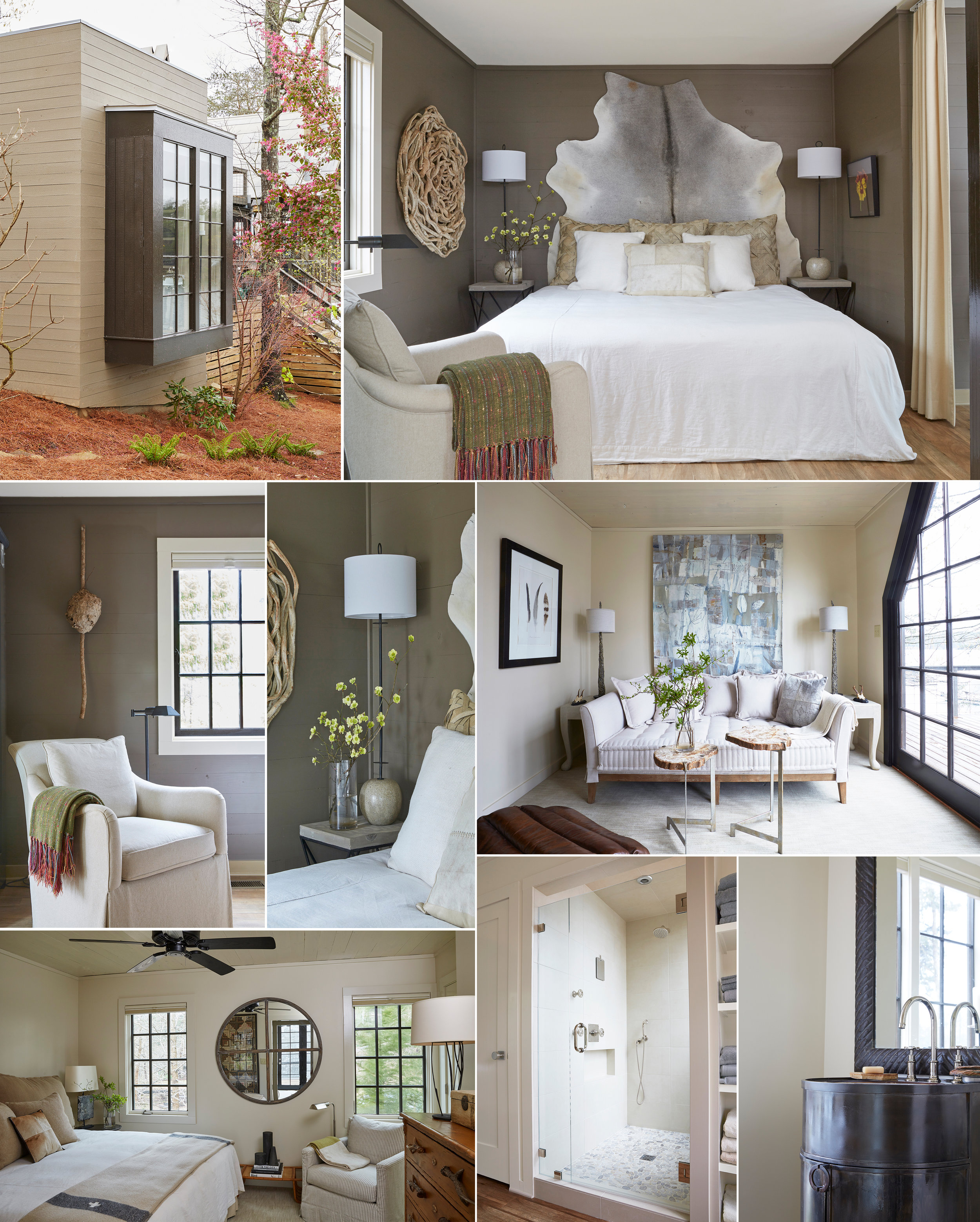 Seven Sticks Lake House collage interior and exterior design and details architecture Alabama