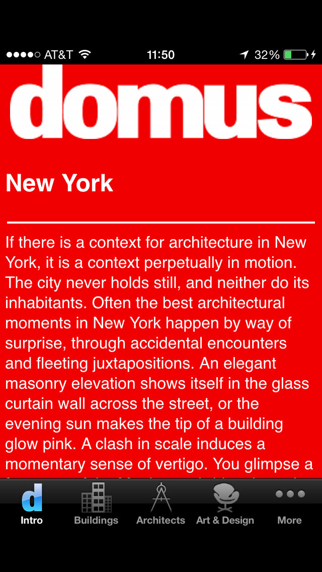 Domus Guide to New York Architecture (app), 2010. Design by Neil Donnelly.