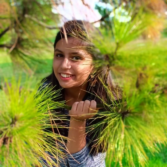 Sneha Agarwal is smiling at the camera through the branches of a tree. She has long dark brown hair and is wearing a blue striped shirt.