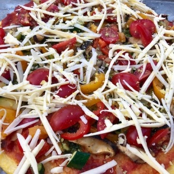 Polenta with Pizza Veggies and Cheese