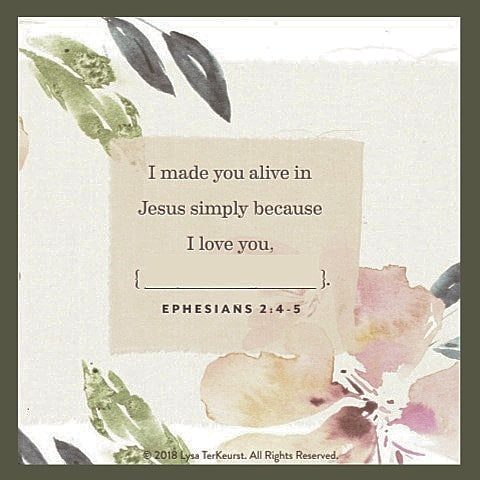 I sent this image out to my email subscribers today in a love note. I wanted them to be able to print it as a reminder of today...GOOD Friday. And I want you to have it too. • • • I think He wants you to know today how much He loves you...so much He died for you.  • • • Read Ephesians 2:1-6 today and be encouraged. ✝️😍💕 Maybe repeat this sentence to yourself today & insert your name as we did in the local yoga class this week.  #jesusfirstyogasecond #jesusisalive #easter2019 #yogafaith #gospelpreacheryogateacher 📷 from @proverbs31ministries card set.