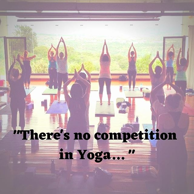 """This is something I say often in my yoga classes: """"there is no competition in yoga"""". Sometimes it's to my students and sometimes MYSELF in my own practice! It's probably because it's easy to look around and compare to other yogis. We do this in life too... But God did not create us so wonderfully unique to compare ourselves with others!⠀ ⠀ When I start looking around at other yoga teachers and wondering if I have what it takes or noticing my inadequacies, I remind myself """"there is no competition in yoga!""""⠀ ⠀ If yoga means union and during a yoga class I'm uniting myself with Christ,  then there is no competition! His grace is sufficient for me! I can be who He created me to be and have confidence in that!⠀ ⠀ Instead of looking at how we are different or how they're doing things """"better"""", maybe we can choose to compliment on how they're doing!⠀ ⠀ ❤️Unity instead of division⠀ ❤️Community over competition⠀ ❤️Confidence before comparison⠀ ❤️Compliment instead of compete.⠀ ⠀ 1 Thessalonians 5:11 So encourage each other and build each other up, just as you are already doing."""