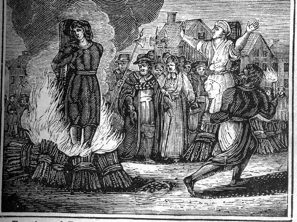 Burning at the stake. An illustration from an mid 19th century book.