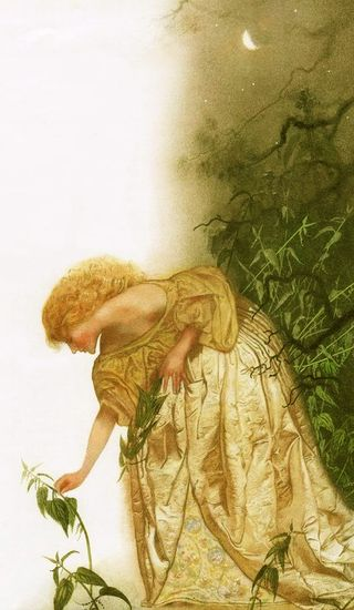 Elisa collecting the nettles that will save her brothers