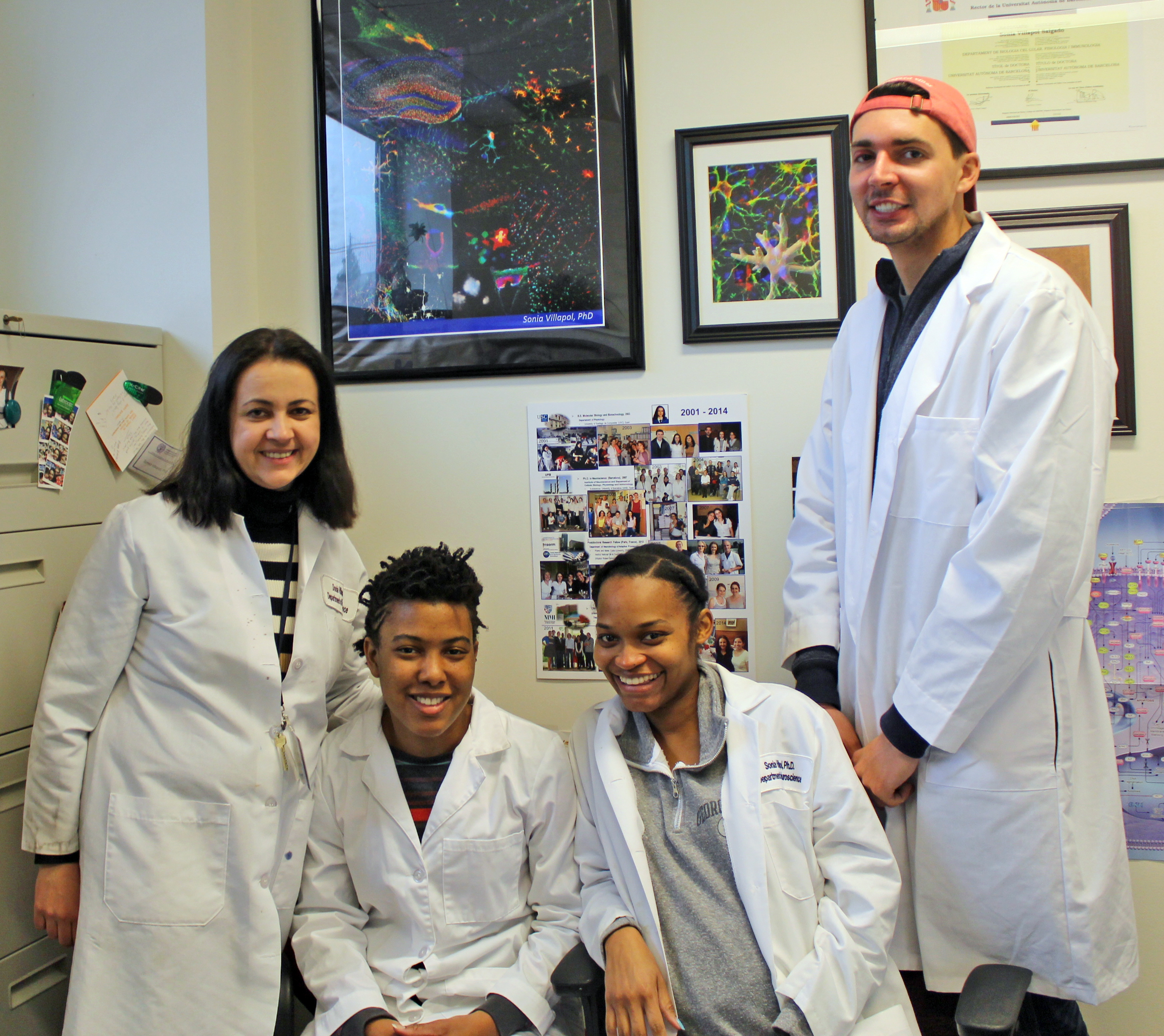 Villapol Lab, May 2017 (Georgetown University, Washington D.C.)  (left to right; Sonia Villapol, Leah Benton, Kershina George, and William Furlow)