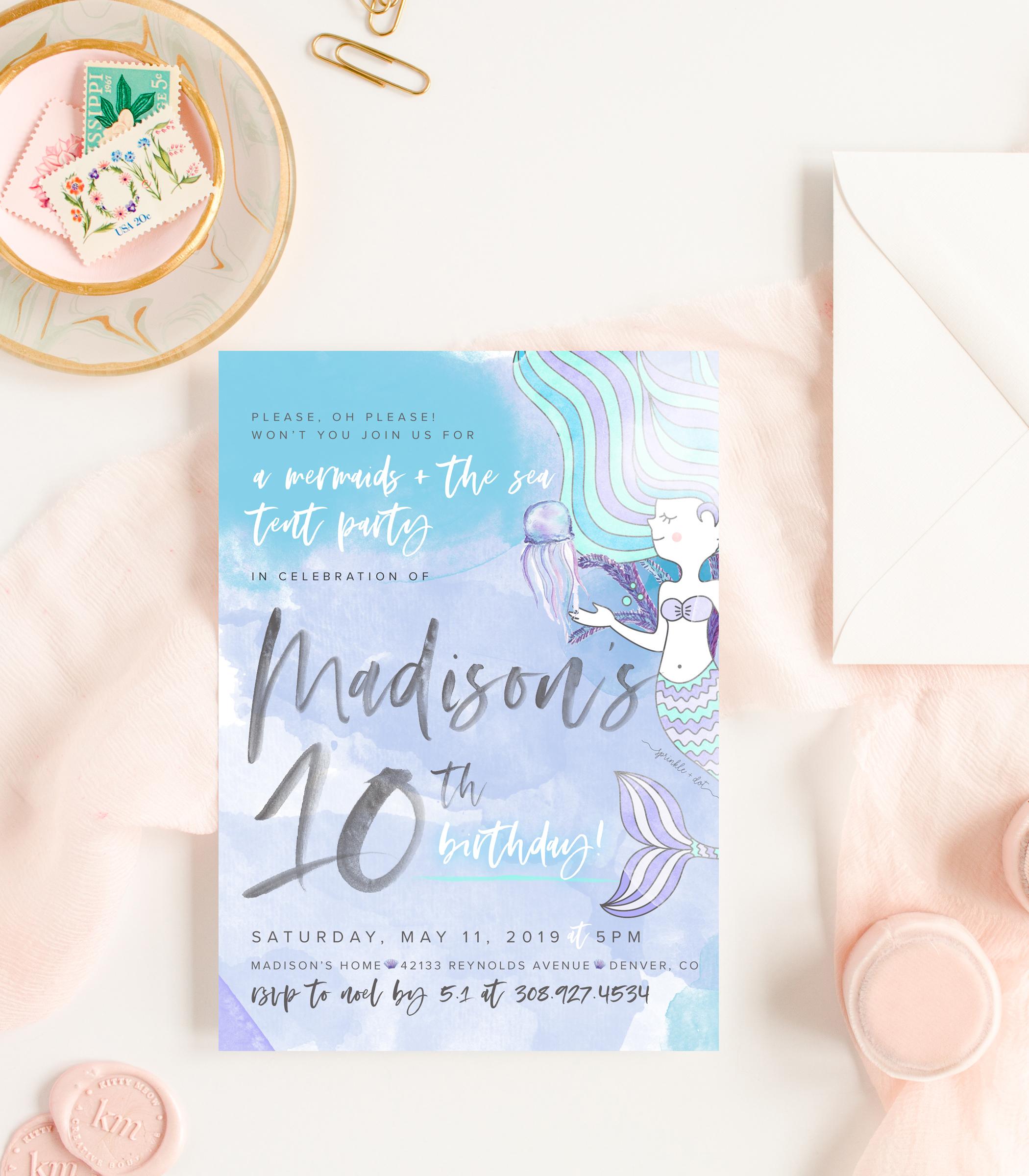 BEST VALUE: printed mermaids + the sea invitation PLUS art print