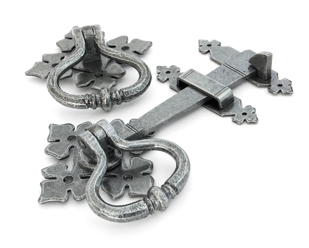 Pewter finish door handles and latch