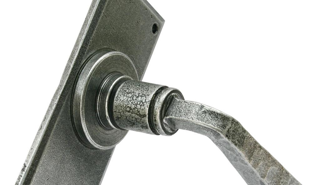 Pewter finish door handle