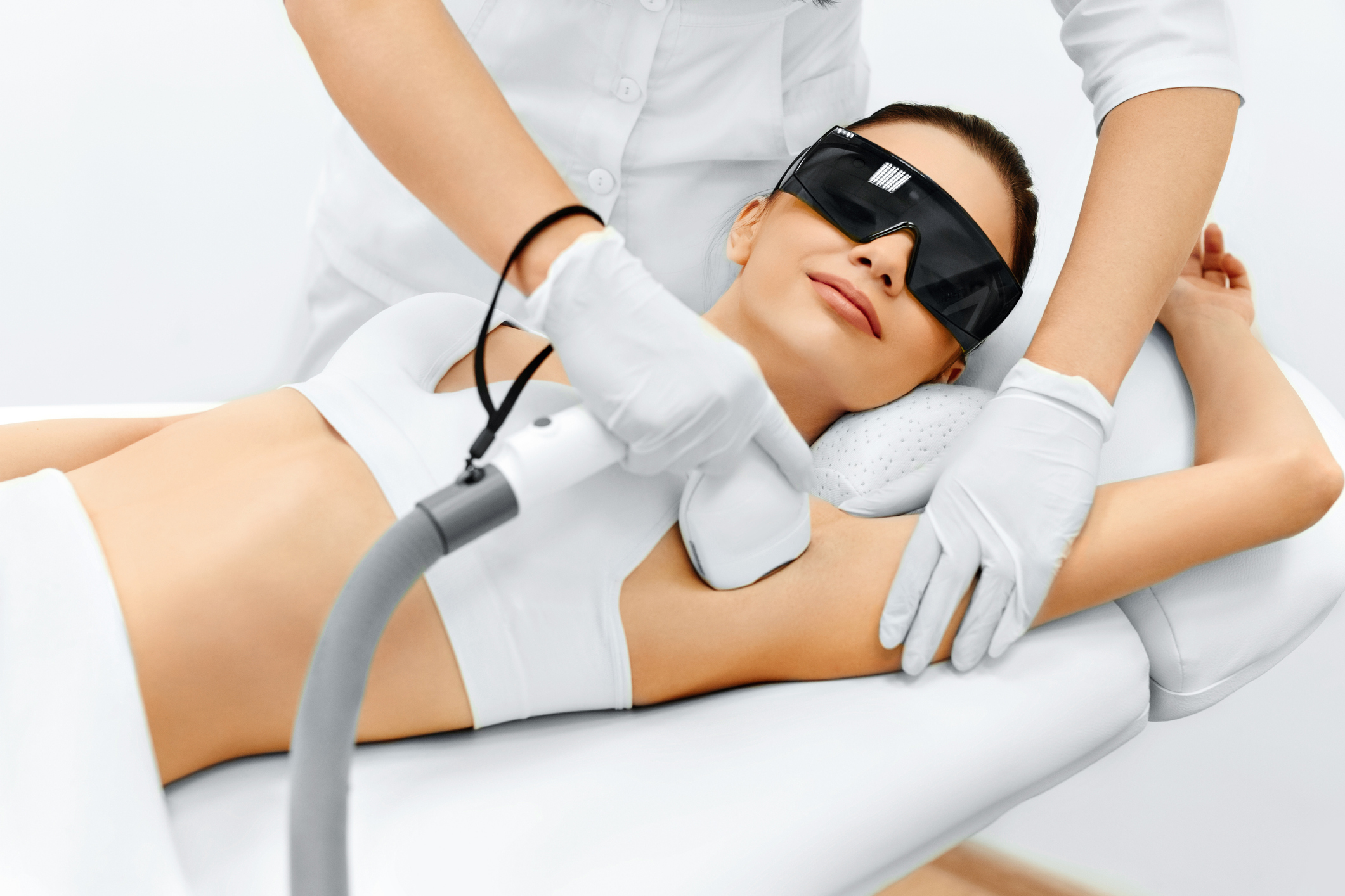 Woman receiving laser hair removal in Lexington, MA