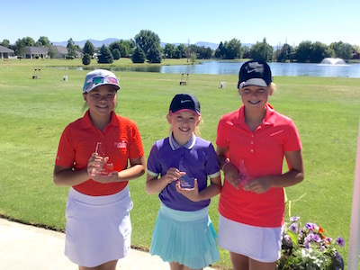 Girls 11-12 Division winners (left to right): Chloe Singpraseuth, Jessica Moody, Kelly Goulet