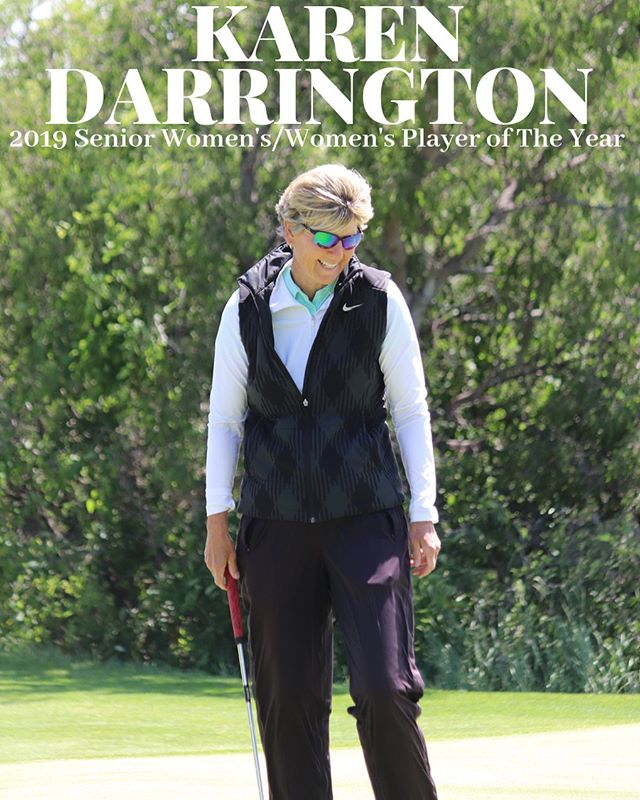 Please join us in congratulating KAREN DARRINGTON for being named the the 2019 WOMEN'S & SENIOR WOMEN'S PLAYER OF THE YEAR🏆 Karen's 2019 accomplishments include being the Idaho Senior Women's Amateur Champion, Idaho Women's Mid-Amateur Champion,  Idaho Women's Match Play Champion, PNGA Senior Women's Amateur Runner-UP, and tied 5th at the Idaho Women's State Amateur. Congratulations @karenldarrington 🎉