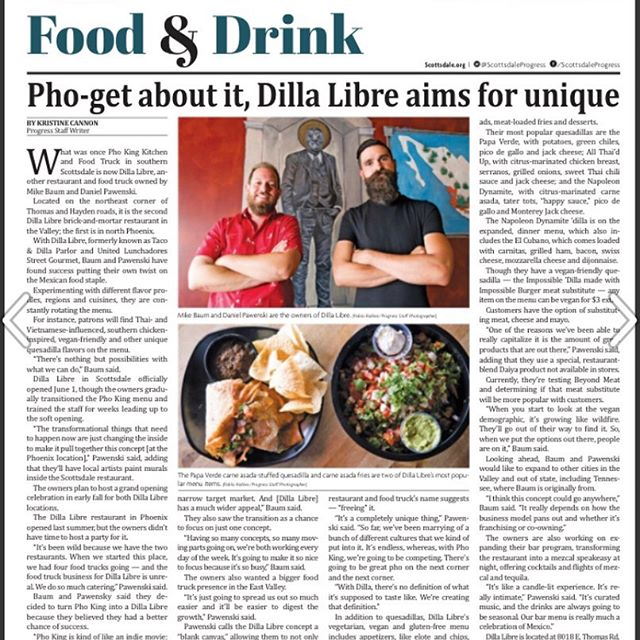 Scottsdale Progress Article about Dilla Libre Dos opening in South Scot t sdale