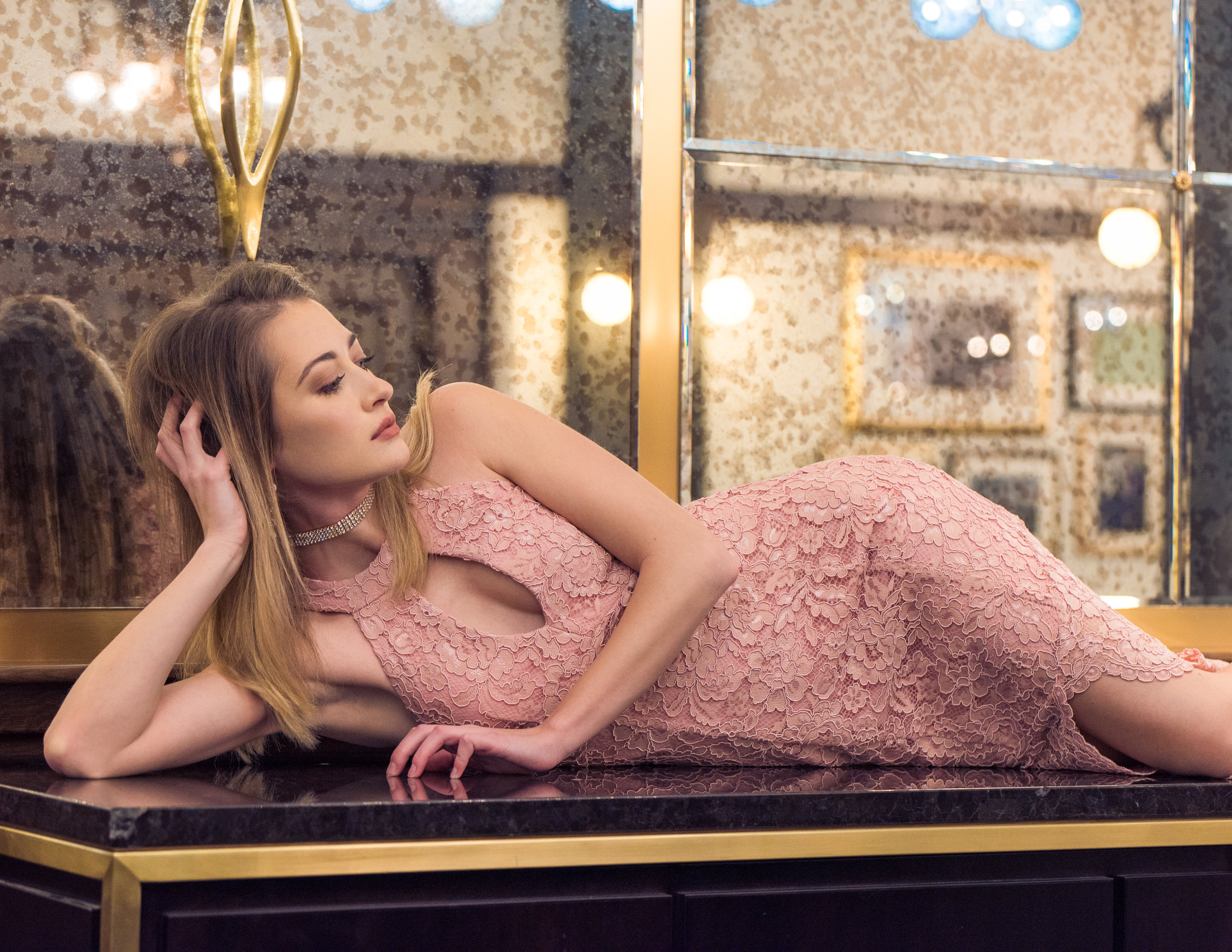 """Stephanie in a Le Chateau evening wear dress in editorial """"Queen Stephanie"""" published in Elegant Magazine. Styling by Trevor Premack of Le Chateau Mayfair, makeup by Stephanie herself, photo &retouching by me."""