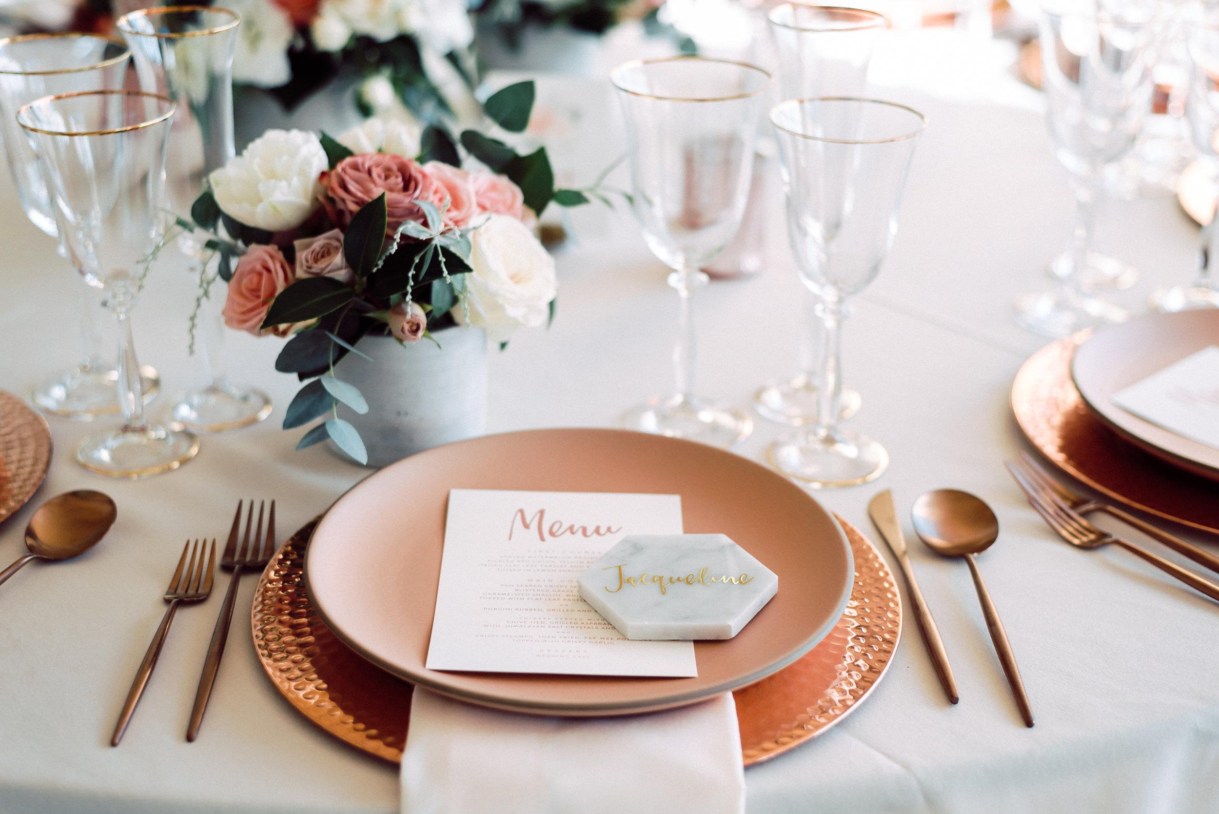 custom wedding menu, custom wedding design, rose gold wedding decor, custom wedding decorations     Orange Blossom Special Events