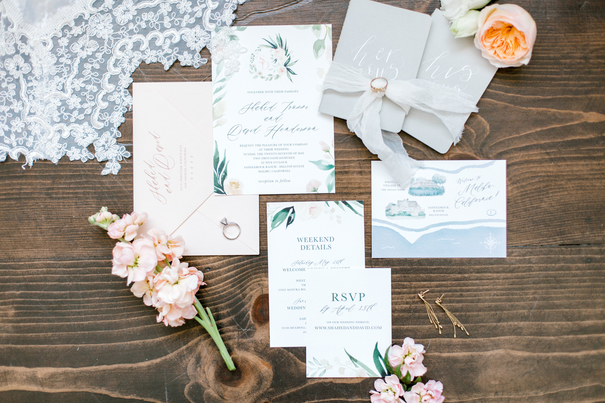 custom rustic wedding invitations, Los Angeles wedding invitations || Orange Blossom Special Events