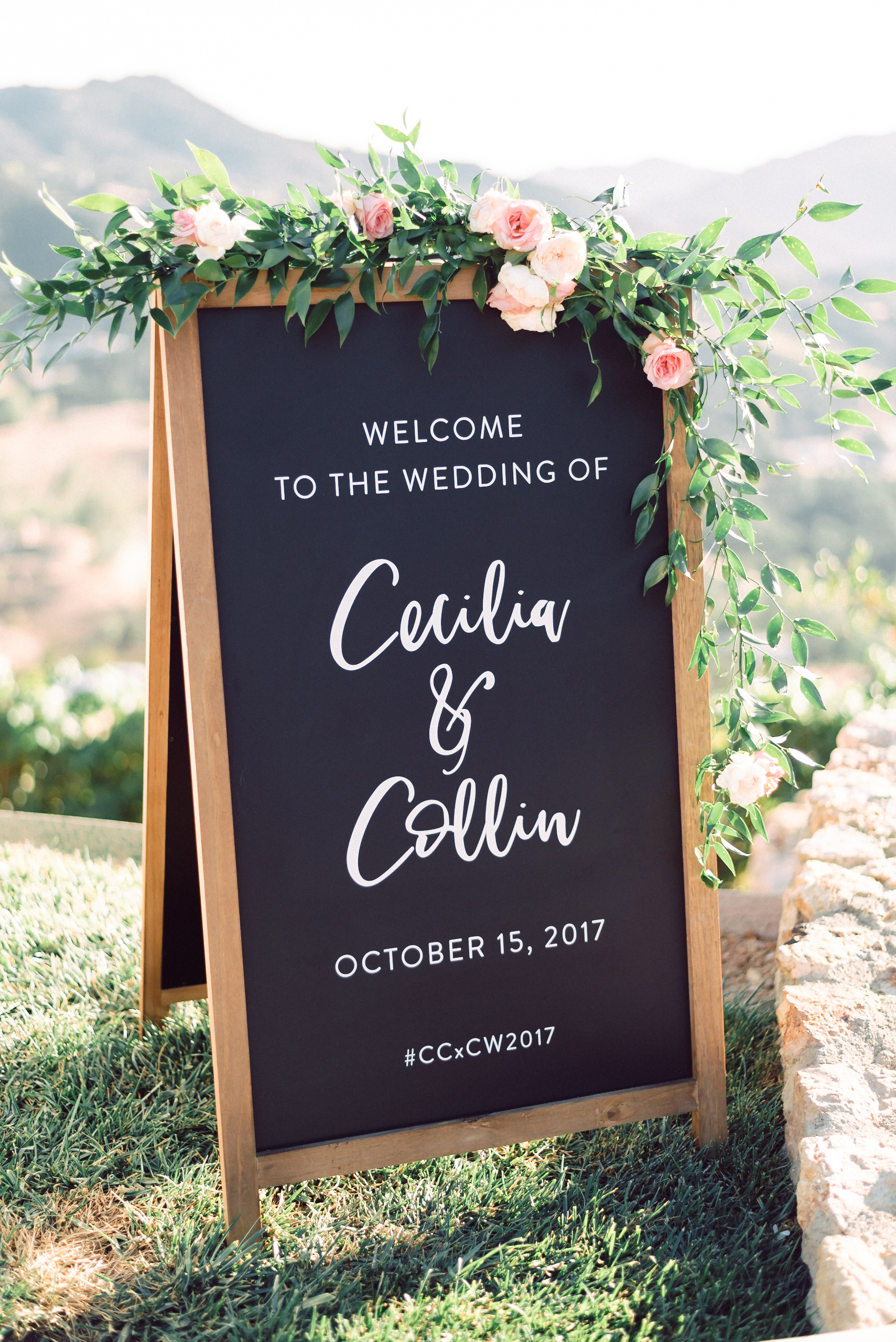 Custom Wedding Design, Los Angeles, Chalkboard Sign, Floral Wedding Sign || Orange Blossom Special Events