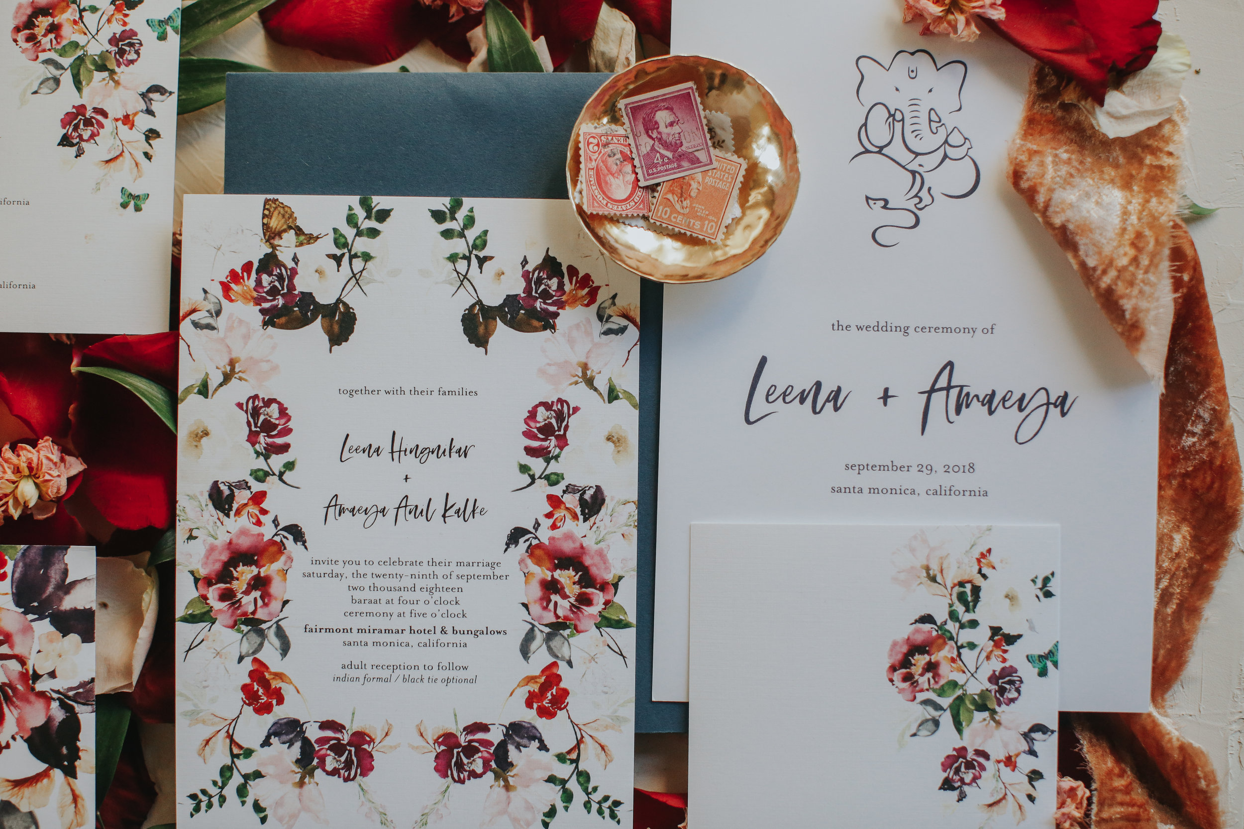 Custom floral wedding invitations, shabby chic wedding invitations, Los Angeles wedding  || Orange Blossom Special Events
