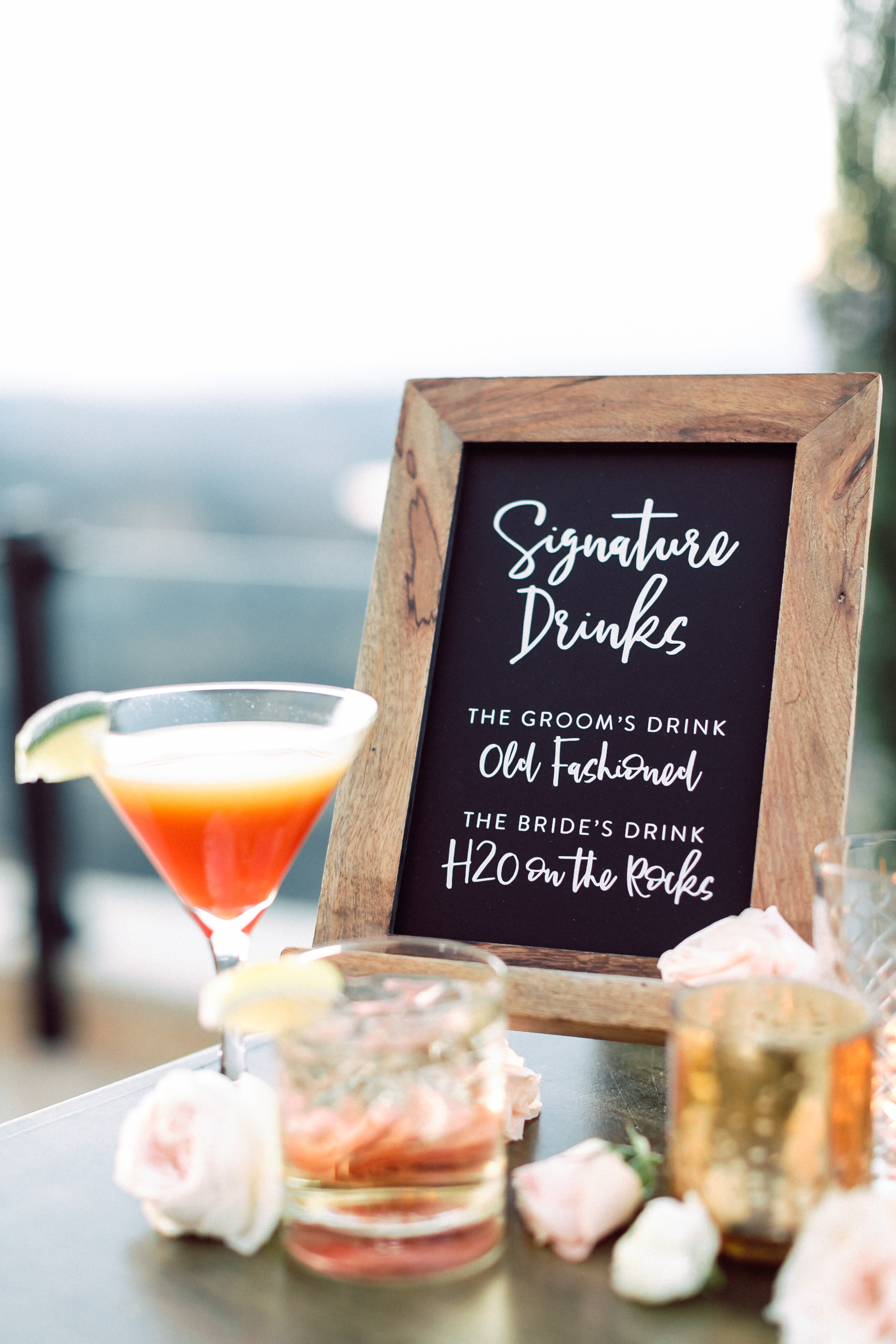 Cocktail Sign, Custom Wedding Design, Los Angeles, Chalkboard Sign, Floral Wedding Sign || Orange Blossom Special Events