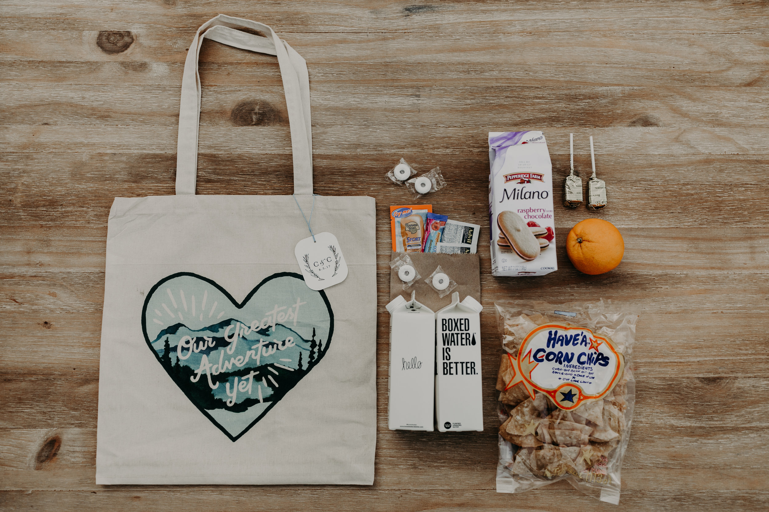 custom wedding welcome bag, wedding welcome bag ideas, Los Angeles wedding, cute wedding welcome bags  || Orange Blossom Special Events