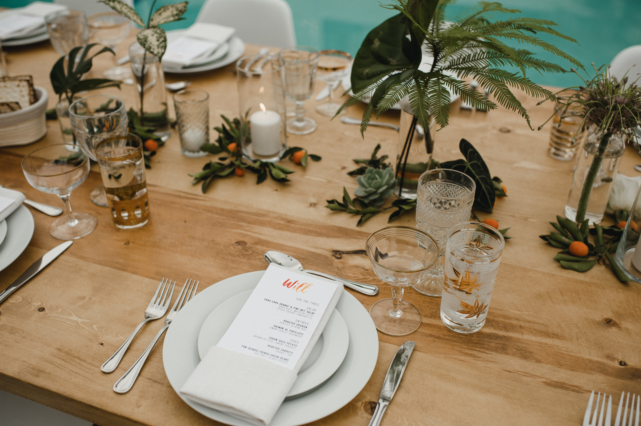 custom wedding menu, custom wedding design, wedding glassware, outdoor wedding, pool wedding, Los Angeles wedding  || Orange Blossom Special Events