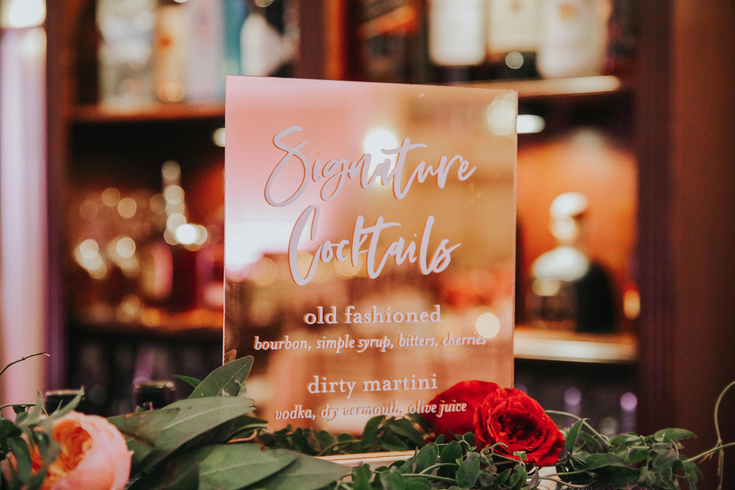 Custom Wedding Design, Los Angeles, Chalkboard Sign, Mirrored Sign, Floral Wedding Sign    Orange Blossom Special Events