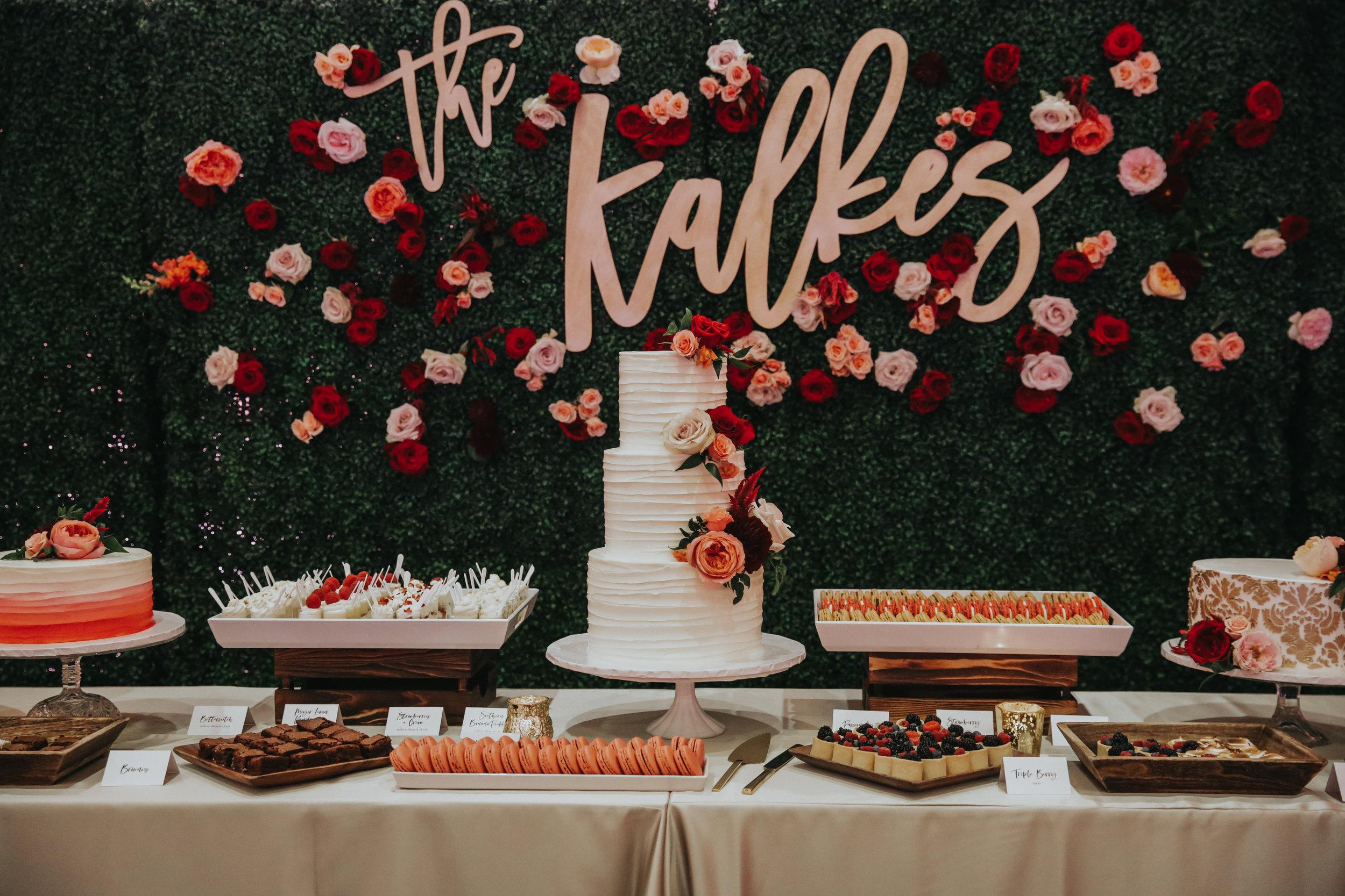 custom wedding cake, custom wedding desserts, wedding desserts, dessert bar, outdoor wedding, Los Angeles wedding, custom signage     Orange Blossom Special Events