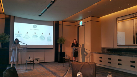 Photo of TIEC President Robin Lerner presenting in South Korea.