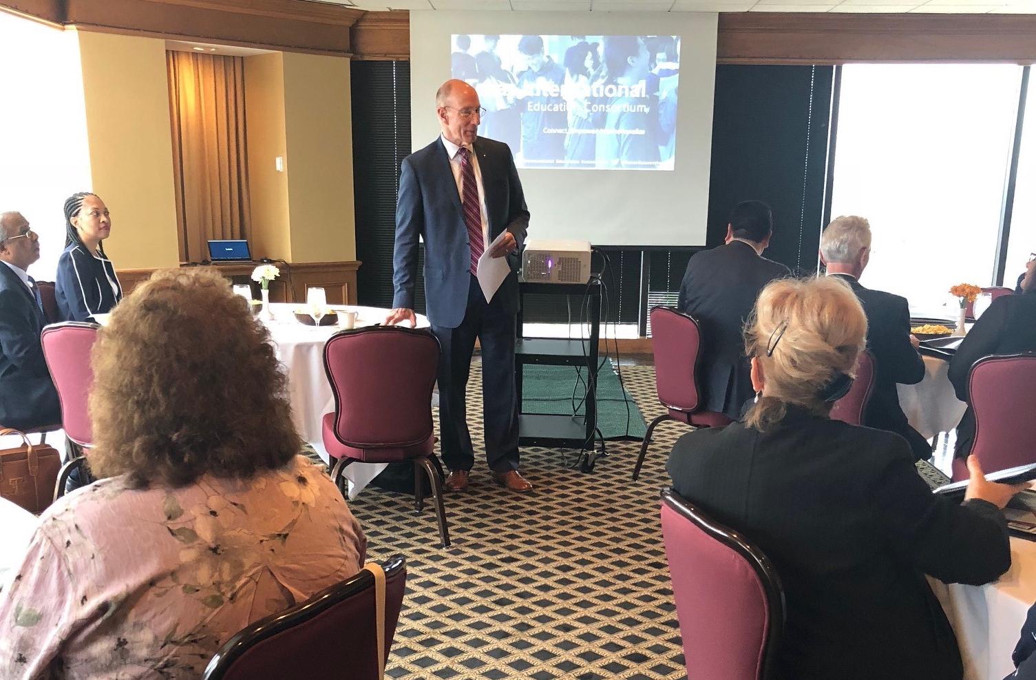 Ken Evans speaking with TIEC Board of Directors.